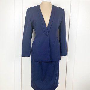 Vintage 80s Vidal Sassoon Blue Suit Size 8